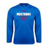 Performance Royal Longsleeve Shirt-Mustangs Basketball Net Icon