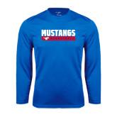Syntrel Performance Royal Longsleeve Shirt-Mustangs Basketball Stacked Bar