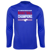 Performance Royal Longsleeve Shirt-2017 AAC Regular Season Mens Basketball Champions Stacked