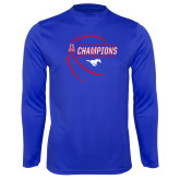 Syntrel Performance Royal Longsleeve Shirt-2017 AAC Conference Champions - Mens Basketball Contour Lines