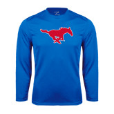 Performance Royal Longsleeve Shirt-Official Outlined Logo