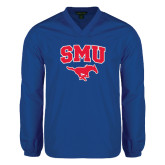 V Neck Royal Raglan Windshirt-SMU w/Mustang