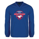 V Neck Royal Raglan Windshirt-Mustangs in Shield