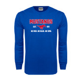 Royal Long Sleeve T Shirt-Stacked Mustangs Design