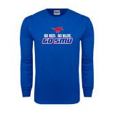 Royal Long Sleeve T Shirt-Go Red Go Blue Go SMU