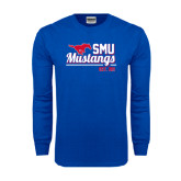 Royal Long Sleeve T Shirt-Stacked SMU Mustangs Design