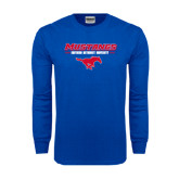 Royal Long Sleeve T Shirt-Stacked Athletic Mustangs Design