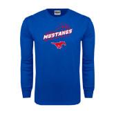 Royal Long Sleeve T Shirt-Angled Basketball Design