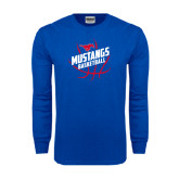 Royal Long Sleeve T Shirt-Angled Mustangs in Basketball