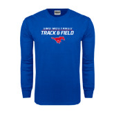 Royal Long Sleeve T Shirt-Track and Field Stacked Design