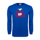 Royal Long Sleeve T Shirt-Pony Up Tempo Stacked