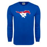 Royal Long Sleeve T Shirt-Dallas Skyline Logo
