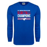Royal Long Sleeve T Shirt-2017 AAC Regular Season Mens Basketball Champions Stacked