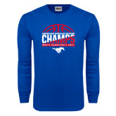 Royal Long Sleeve T Shirt-2017 AAC Regular Season Champs - Mens Basketball Half Ball