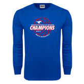 Royal Long Sleeve T Shirt-AAC Regular Season Champions 2017 Mens Basketball Lined Ball