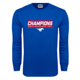 Royal Long Sleeve T Shirt-2017 AAC Regular Season Champions - Mens Basketball Stencil