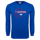 Royal Long Sleeve T Shirt-2017 AAC Conference Champions - Mens Basketball Contour Lines