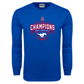 Royal Long Sleeve T Shirt-2017 AAC Conference Champions - Mens Basketball Arched Banner