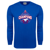 Royal Long Sleeve T Shirt-2017 AAC Conference Champions - Mens Basketball Arched Net
