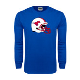 Royal Long Sleeve T Shirt-SMU Football Helmet