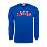 Royal Long Sleeve T Shirt-Arched SMU Mustangs