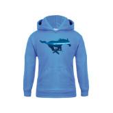 Youth Light Blue Fleece Hoodie-Official Logo Foil