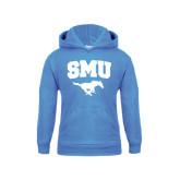 Youth Light Blue Fleece Hoodie-SMU w/Mustang