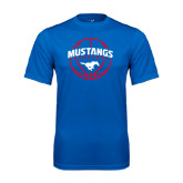 Performance Royal Tee-Mustangs Basketball Arched w/ Ball