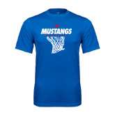 Performance Royal Tee-Mustangs Basketball Stacked w/ Net