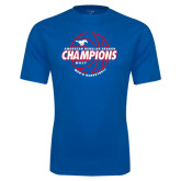 Performance Royal Tee-AAC Regular Season Champions 2017 Mens Basketball Lined Ball