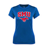 Ladies Syntrel Performance Royal Tee-SMU w/Mustang