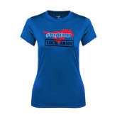 Ladies Syntrel Performance Royal Tee-#PonyUpTempo Lock Arms