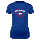 Ladies Syntrel Performance Royal Tee-Mustangs Basketball Arched w/ Ball