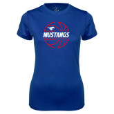 Ladies Syntrel Performance Royal Tee-Mustangs Basketball Lined Ball