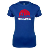 Ladies Syntrel Performance Royal Tee-Mustangs Basketball Dallas Skyline