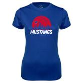 Ladies Syntrel Performance Royal Tee-Mustangs Basketball Dallas Skyline