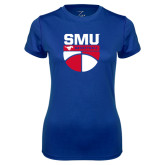 Ladies Syntrel Performance Royal Tee-SMU Basketball Stacked on Ball