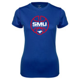 Ladies Syntrel Performance Royal Tee-SMU Basketball Block Stacked in Circle