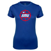 Ladies Syntrel Performance Royal Tee-SMU Basketball Block in Circle