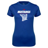 Ladies Syntrel Performance Royal Tee-Mustangs Basketball Stacked w/ Net