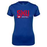 Ladies Syntrel Performance Royal Tee-SMU Basketball Stencil