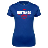 Ladies Syntrel Performance Royal Tee-Mustangs Basketball Net Icon