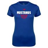 Ladies Syntrel Performance Royal Tee-Mustangs Basketball Net Icon