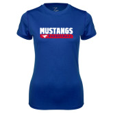 Ladies Syntrel Performance Royal Tee-Mustangs Basketball Stacked Bar