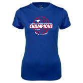 Ladies Syntrel Performance Royal Tee-AAC Regular Season Champions 2017 Mens Basketball Lined Ball