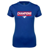 Ladies Syntrel Performance Royal Tee-2017 AAC Regular Season Champions - Mens Basketball Stencil