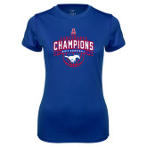 Ladies Syntrel Performance Royal Tee-2017 AAC Conference Champions - Mens Basketball Arched Banner