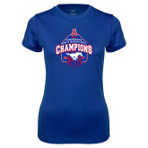 Ladies Syntrel Performance Royal Tee-2017 AAC Conference Champions - Mens Basketball Arched Net