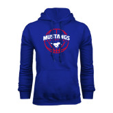Royal Fleece Hoodie-Mustangs Basketball Arched w/ Ball