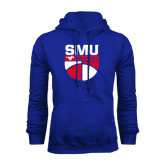 Royal Fleece Hoodie-SMU Basketball Stacked on Ball